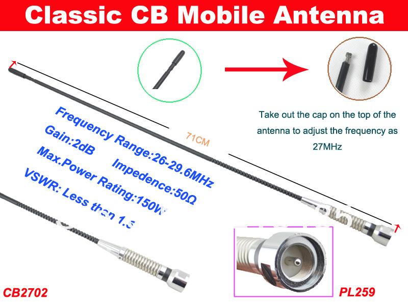 Cb2702 Cb Mobile Antenna 2db Gain Pl259 Connector 71cm