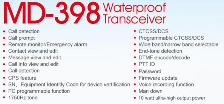 TYT Tytera MD-398 IP67 Waterproof DMR 10W CE Digital Two Way