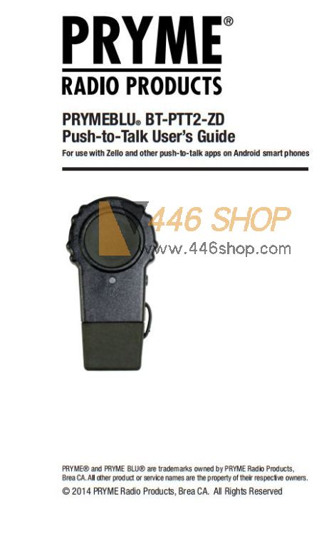 PRYME Android Wireless Bluetooth PTT Switch for ZELLO WAVE Pryme BT